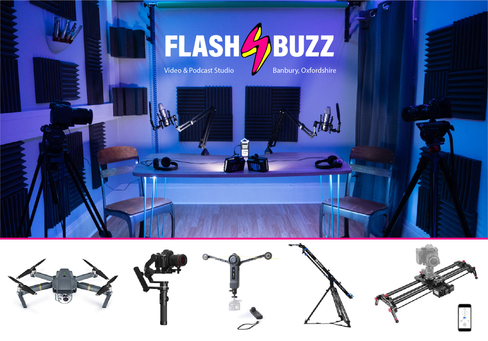Flashbuzz video & podcast studio Banbury, Oxfordshire